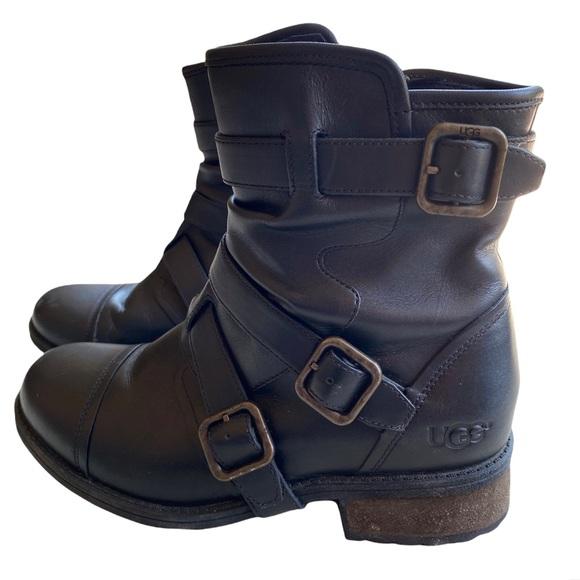 UGG W Finney Women's Black Leather Moto Boot Sz. 8